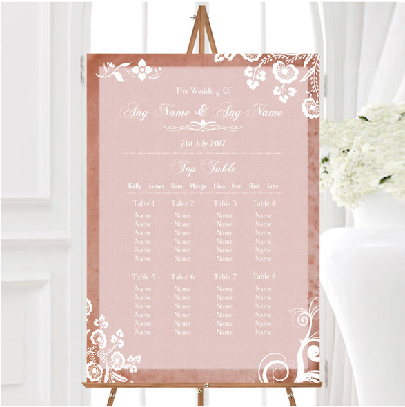 Rustic Blush Lace Personalised Wedding Seating Table Plan