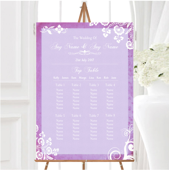 Rustic Lilac Lace Personalised Wedding Seating Table Plan