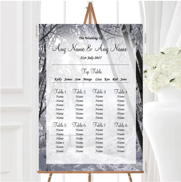 Winter Snow Scene Personalised Wedding Seating Table Plan
