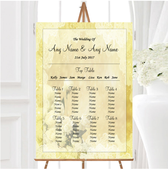 Yellow Cream Lace Personalised Wedding Seating Table Plan