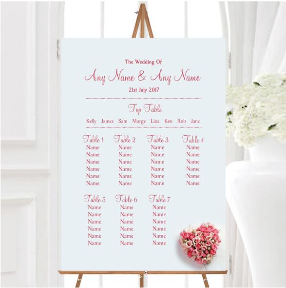 Pink Heart Roses Personalised Wedding Seating Table Plan