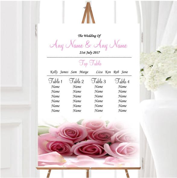 Baby Pink Roses Personalised Wedding Seating Table Plan