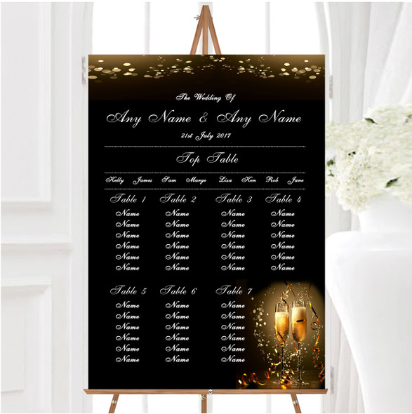 Black Champagne Personalised Wedding Seating Table Plan