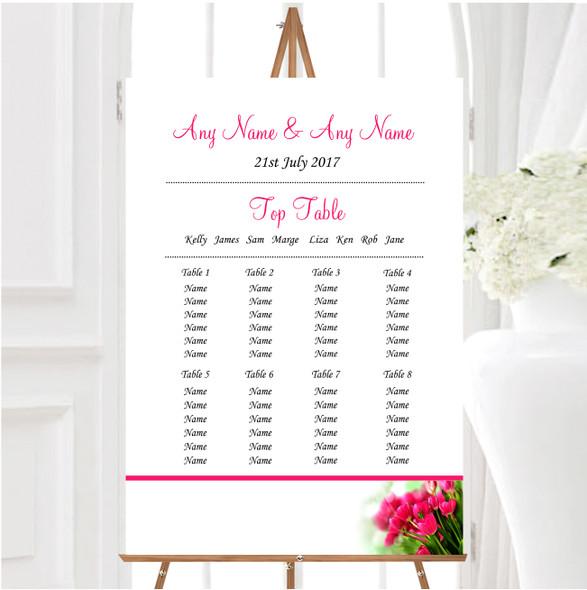 Hot Pink Tulips Personalised Wedding Seating Table Plan