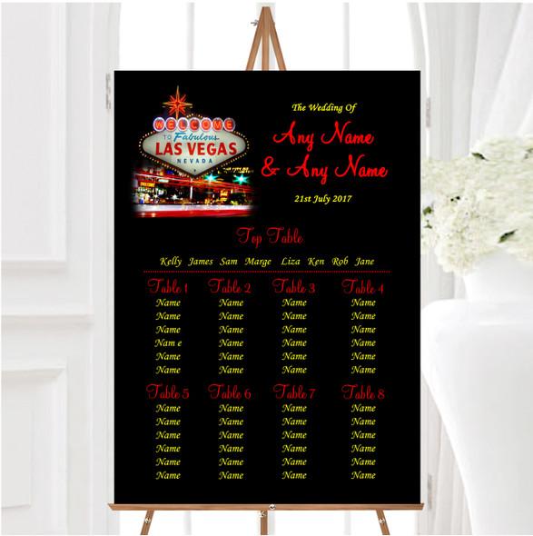 Las Vegas Strip Personalised Wedding Seating Table Plan