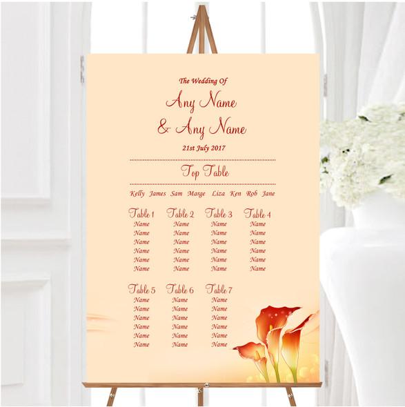 Red Orange Lily Personalised Wedding Seating Table Plan