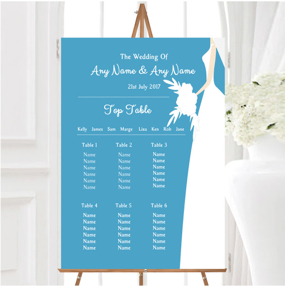 Turquoise Bride Personalised Wedding Seating Table Plan