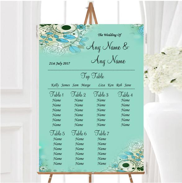 Aqua Turquoise Personalised Wedding Seating Table Plan