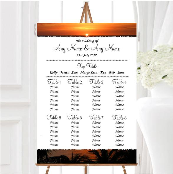 Florida Sunset Personalised Wedding Seating Table Plan