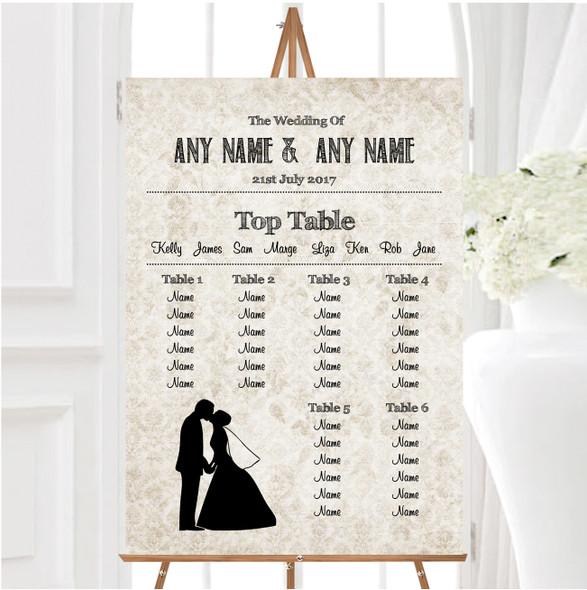 Damask Chic Personalised Wedding Seating Table Plan