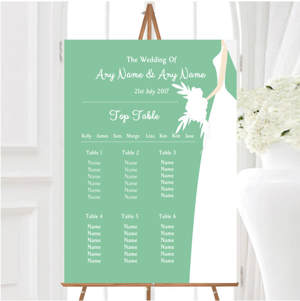 Green Bride Personalised Wedding Seating Table Plan