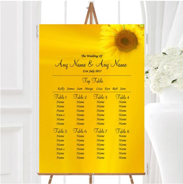 Sunflowers Personalised Wedding Seating Table Plan