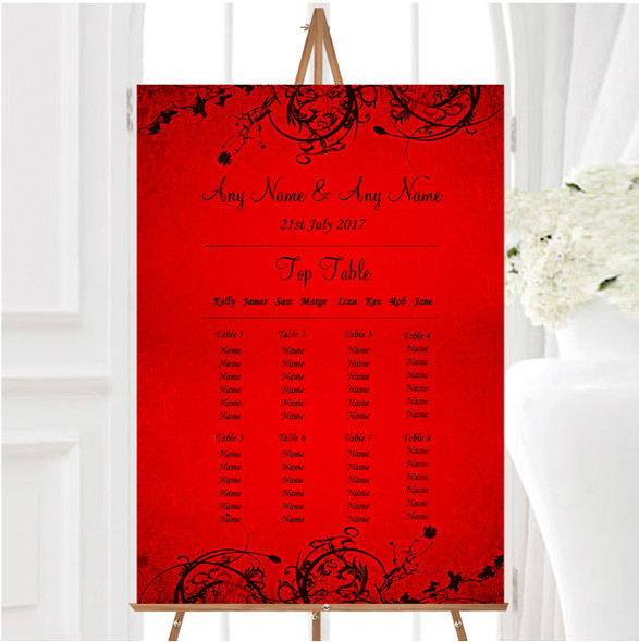 Red Flare Personalised Wedding Seating Table Plan