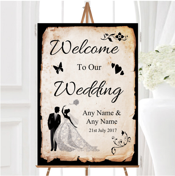 Black White Vintage Rustic Postcard Personalised Any Text Welcome Wedding Sign
