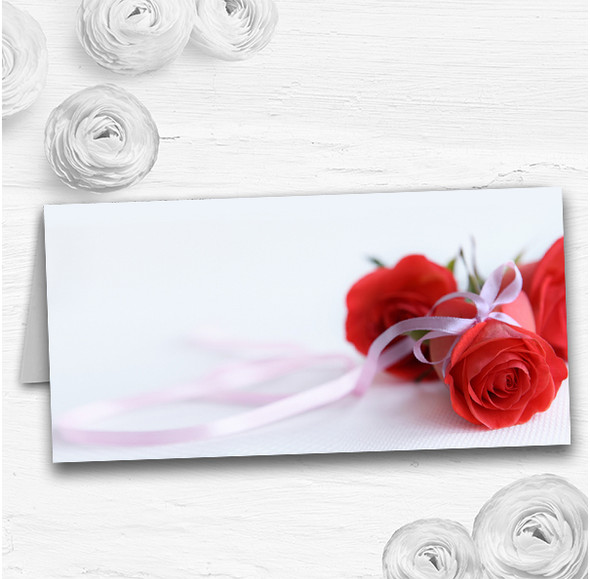 Red Rose & White Ribbon Wedding Table Seating Name Place Cards
