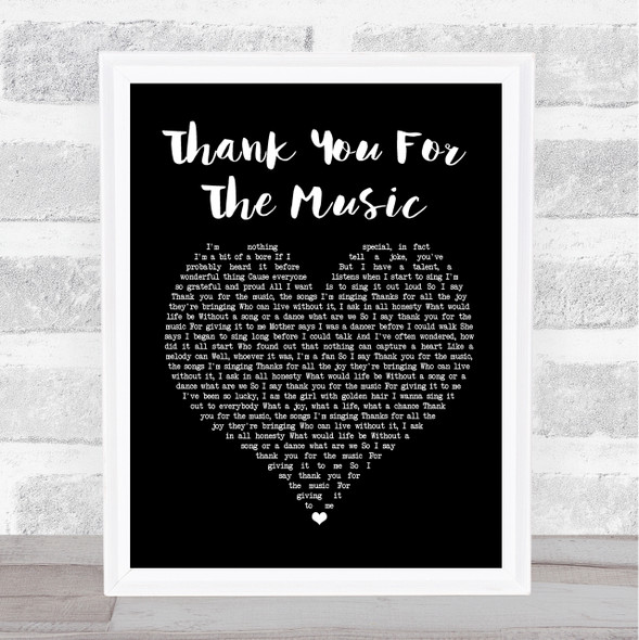 ABBA Thank You For The Music Black Heart Song Lyric Print
