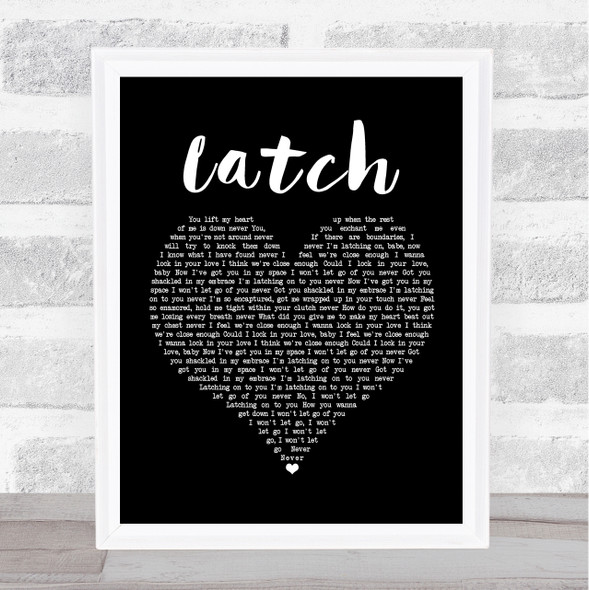 Disclosure Latch Black Heart Song Lyric Print