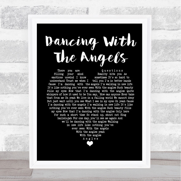 Monk & Neagle Dancing With The Angels Black Heart Song Lyric Print