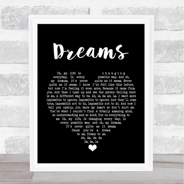 The Cranberries Dreams Black Heart Song Lyric Print