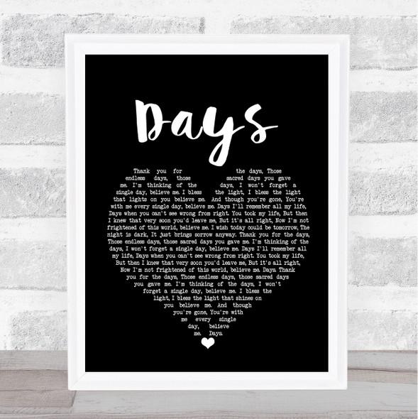 The Kinks Days Black Heart Song Lyric Print
