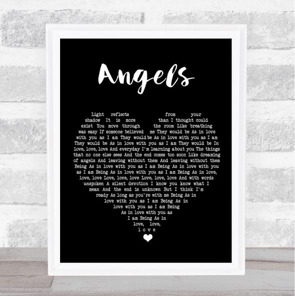 The xx Angels Black Heart Song Lyric Print