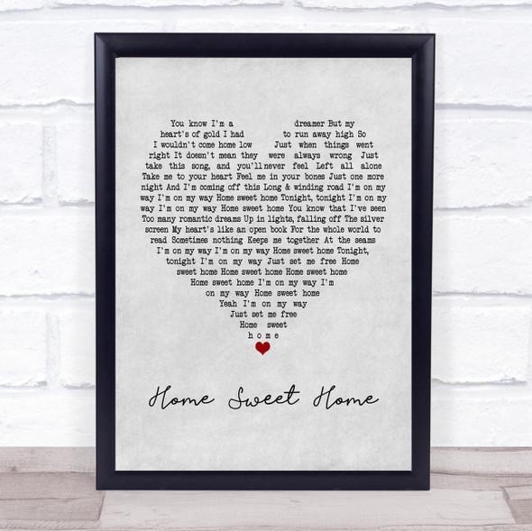 Motley Crue Home Sweet Home Grey Heart Song Lyric Print