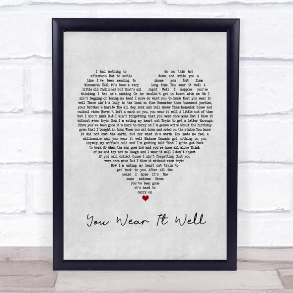 Rod Stewart You Wear It Well Grey Heart Song Lyric Print