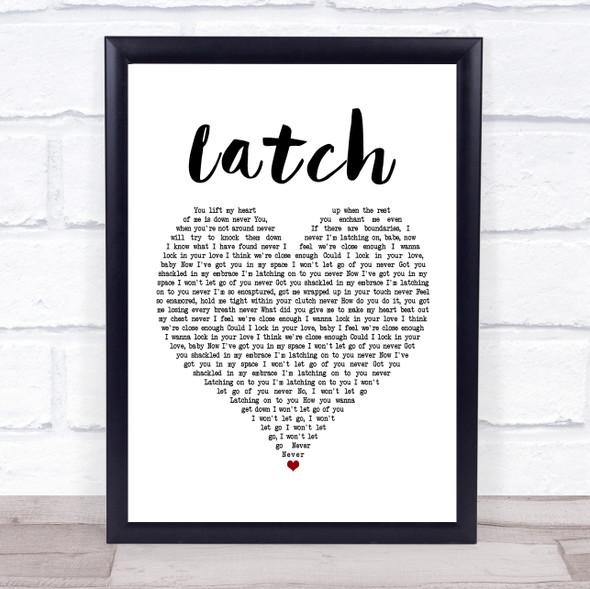 Disclosure Latch White Heart Song Lyric Print