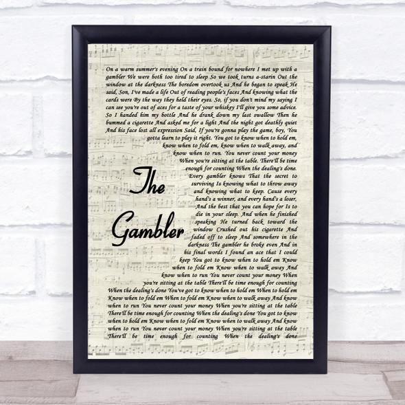Kenny Rogers The Gambler Vintage Script Song Lyric Print