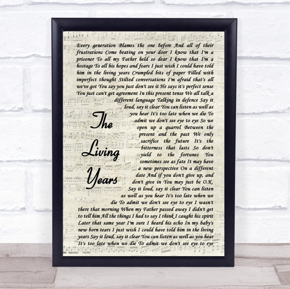 Mike + The Mechanics The Living Years Vintage Script Song Lyric Print
