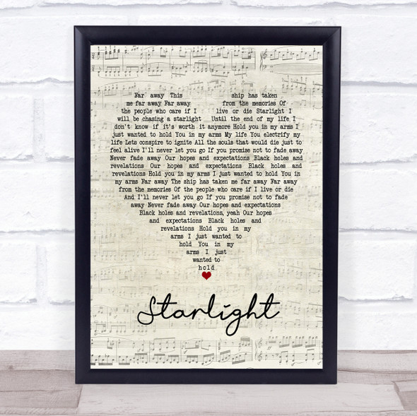 Muse Starlight Script Heart Song Lyric Print