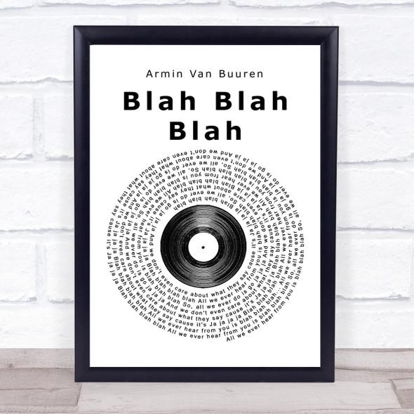 Armin Van Buuren Blah Blah Blah Vinyl Record Song Lyric Print