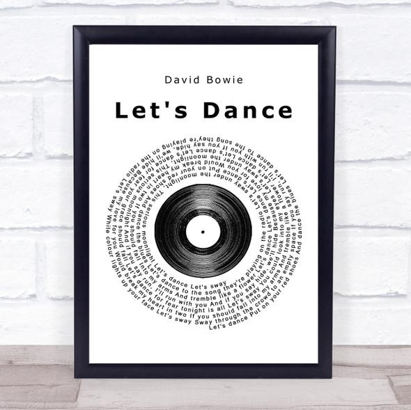 David Bowie Let's Dance Vinyl Record Song Lyric Print