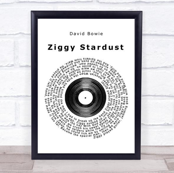 David Bowie Ziggy Stardust Vinyl Record Song Lyric Print