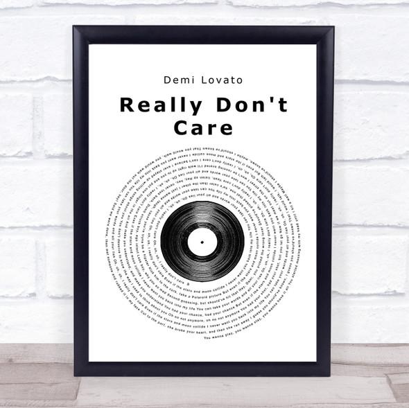 Demi Lovato Really Don't Care Vinyl Record Song Lyric Print