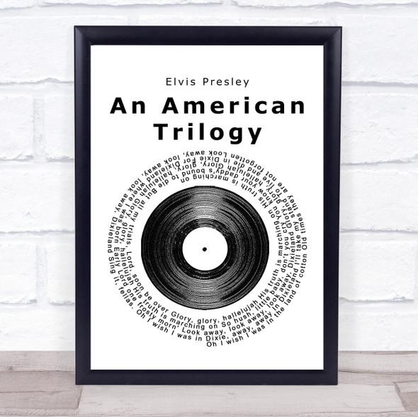 Elvis Presley An American Trilogy Vinyl Record Song Lyric Print