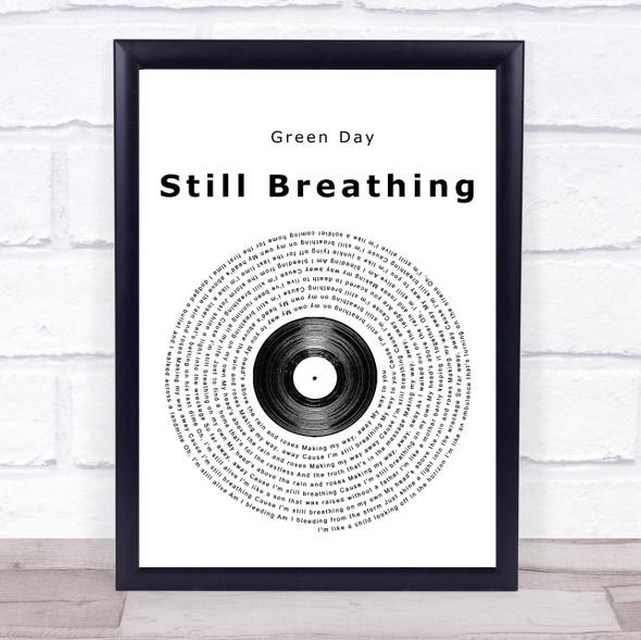 Green Day Still Breathing Vinyl Record Song Lyric Print