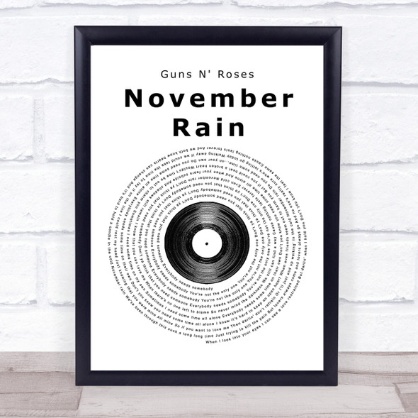 Guns N' Roses November Rain Vinyl Record Song Lyric Print