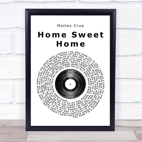 Motley Crue Home Sweet Home Vinyl Record Song Lyric Print