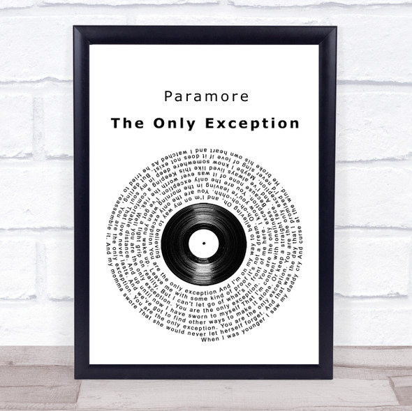 Paramore The Only Exception Vinyl Record Song Lyric Print