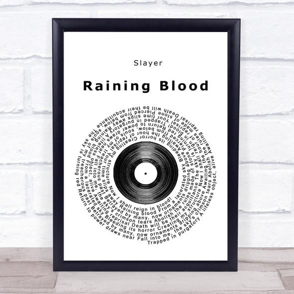 Slayer Raining Blood Vinyl Record Song Lyric Print