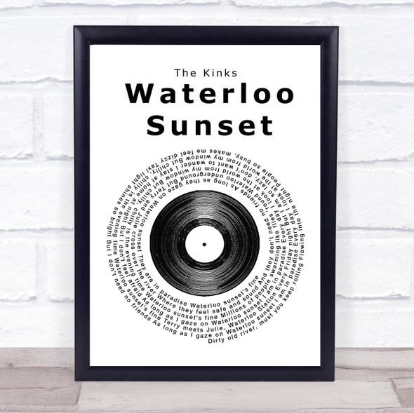 The Kinks Waterloo Sunset Vinyl Record Song Lyric Print