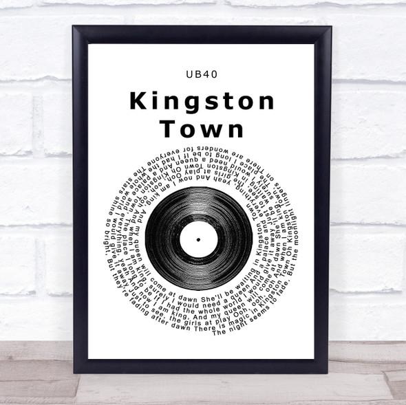 UB40 Kingston Town Vinyl Record Song Lyric Print