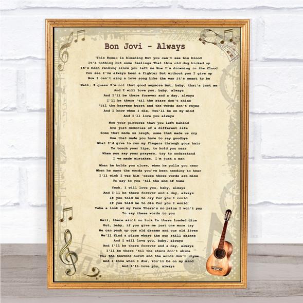 Bon Jovi Always Vintage Guitar Song Lyric Print