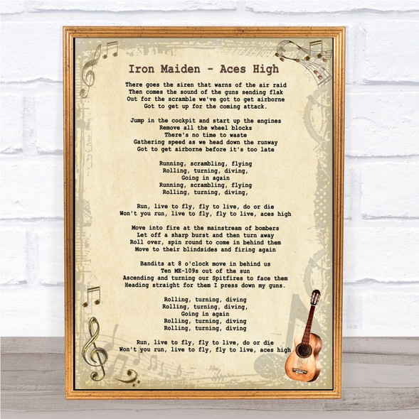 Iron Maiden Aces High Vintage Guitar Song Lyric Print