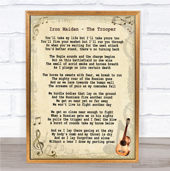 Iron Maiden The Trooper Vintage Guitar Song Lyric Print