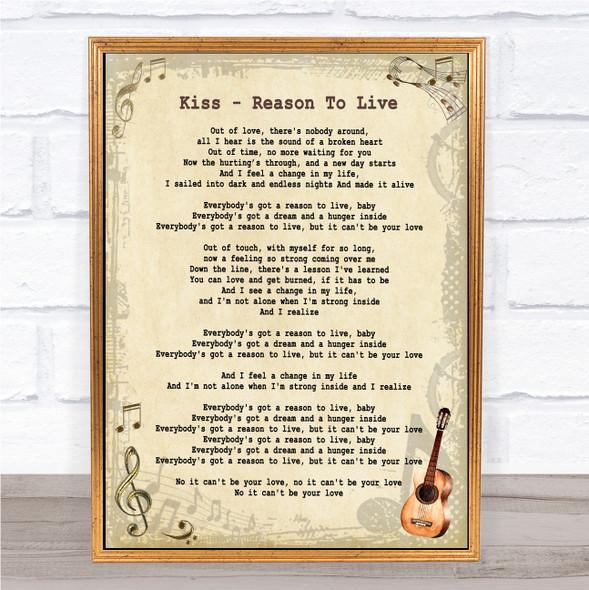 Kiss Reason To Live Vintage Guitar Song Lyric Print