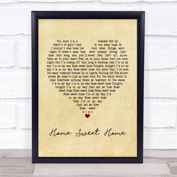 Motley Crue Home Sweet Home Vintage Heart Song Lyric Print