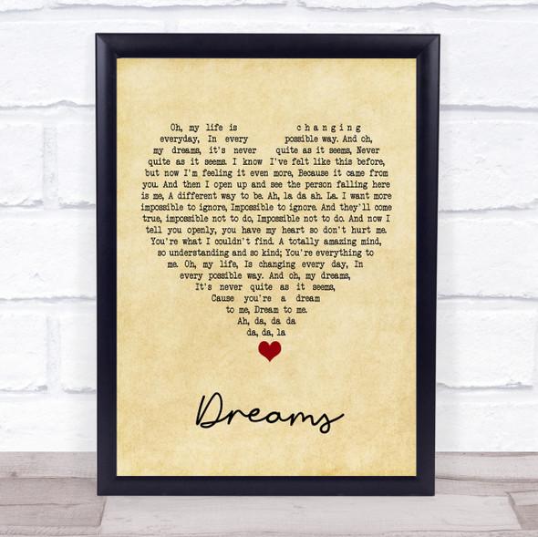 The Cranberries Dreams Vintage Heart Song Lyric Print