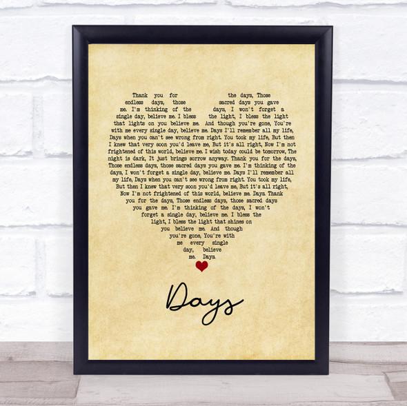 The Kinks Days Vintage Heart Song Lyric Print